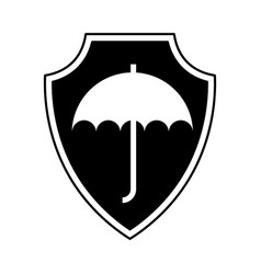 shield insurance with umbrella isolated icon vector image vector image