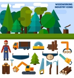 Woodworking Industry Icons vector image vector image