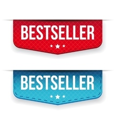 Best seller red and blue ribbon vector