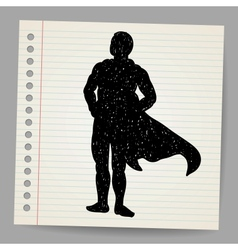 Doodle superhero silhouette vector image vector image