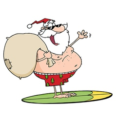 Jolly Santa Claus Surfing With His Sack vector image vector image