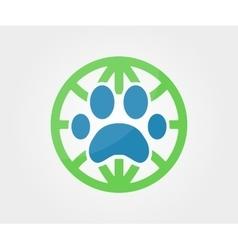 logo design element Paw animal globe vector image
