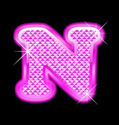 N letter pink bling girly vector image
