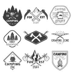 set of camping labels in vintage style vector image vector image