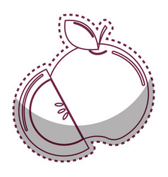 sticker silhouette apple fruit icon stock vector image vector image