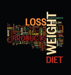 the magic of weight loss text background word vector image