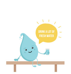 water drop character holding glass of water vector image vector image