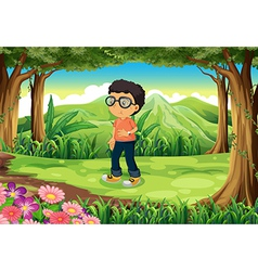 A boy at the forest vector image