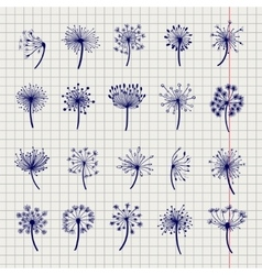 Ball pen dandelion sketch collection vector image