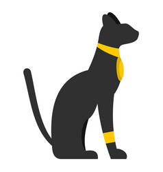 Black sitting egyptian cat icon isolated vector