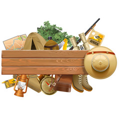 board with safari hat vector image