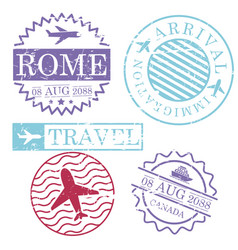 Boat and airplane travel stamps rome canada in vector