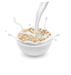 Bowl with oat flakes and pouring milk vector