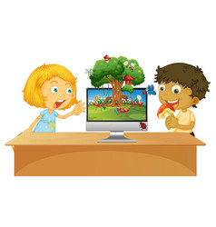 Boy and girl next to computer with insect scene vector