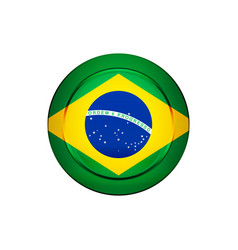 brazilian flag on the round button vector image