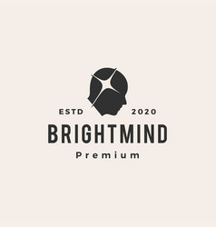 bright mind hipster vintage logo icon vector image