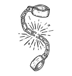 Broken shackles on white background design vector