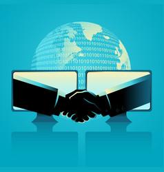 Business agreement through internet vector