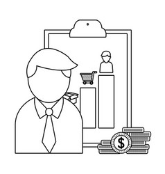 businessman and office in black and white vector image