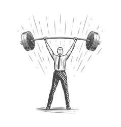 businessman lifts up heavy barbell business vector image