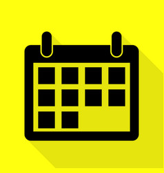 Calendar sign black icon with flat vector