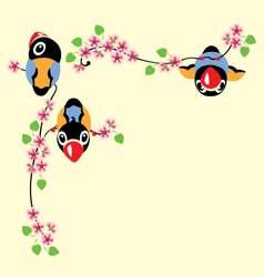 Cartoon birds in spring vector