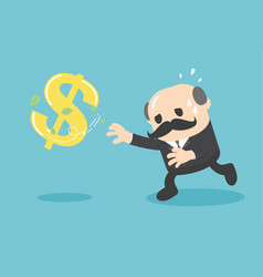 cartoon businessman chasing symbolmoney style vector image