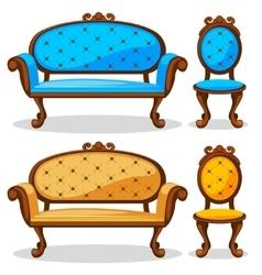 Cartoon colorful Retro chair and sofa vector