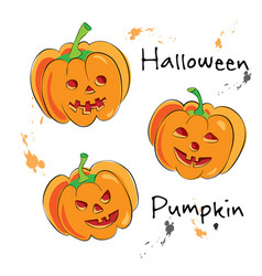 Cartoon halloween pumpkins with cute funny and vector