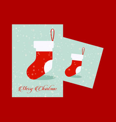 Chrismtas card with socks and red background vector