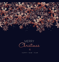 Christmas and new year copper snow greeting card vector