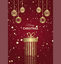 christmas gift background with hanging baubles vector image