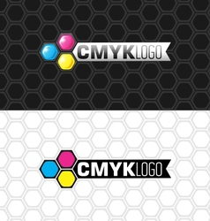 Cmyk logo and flat version vector