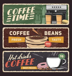 coffee banners esprecco machine cup and beans vector image