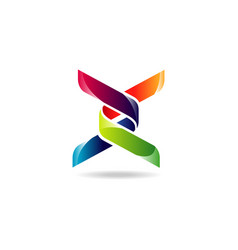 colorful ribbon dna symbol logo vector image