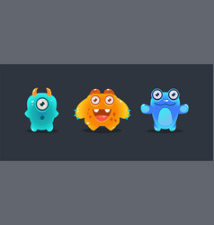 cute colorful monsters funny cartoon glossy vector image