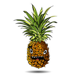 cute fresh pineapple cartoon character emotion vector image