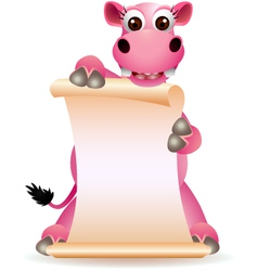cute hippo cartoon with blank sign vector image