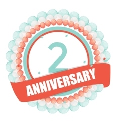 Cute Template 2 Years Anniversary with Balloons vector image