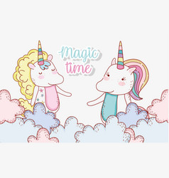 cute unicorn couple animal in the clouds vector image