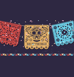 day dead papercut mexican skull banner vector image
