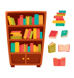 different books on the shelves of wooden bookcase vector image