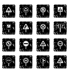 Different road signs icons set vector