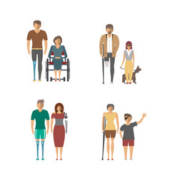 disabled people isolated set in flat design vector image