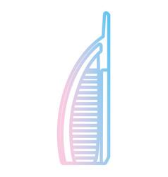 Dubai skyscraper tower neon lines vector
