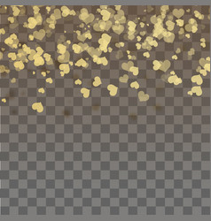 falling gold hearts on transparent background vector image
