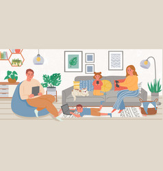 family with gadgets parents and kids at home vector image