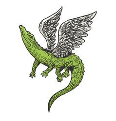 fantastic flying crocodile sketch engraving vector image
