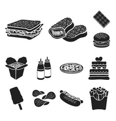 Fast food black icons in set collection for design vector