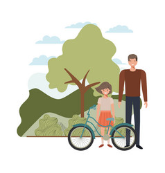 Father and daughter with bycicle in landscape vector